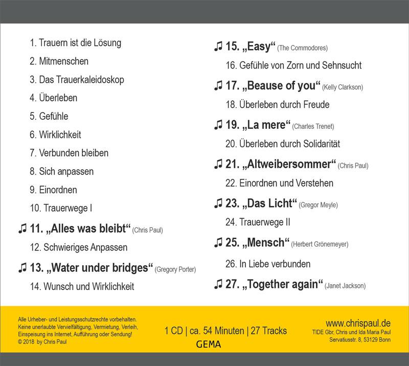 Trackliste Cd Kaleidoskop Des Trauerns Shop Tide Chris Paul