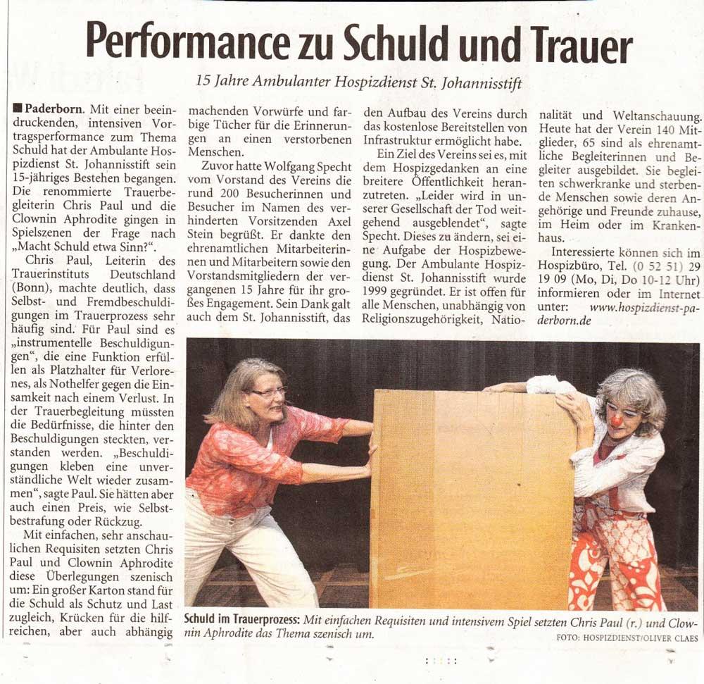 Zeitungsbericht Trauerinstitut Deutschland Chris Paul Hospiz Steele Ev